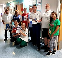 Ediscyll Lorusso (green shirt),  Senior Thrombosis Nurse Practitioner at St George's University Hospital, raising awareness in Queen Mary Hospital, Roehampton