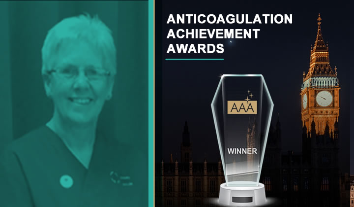 Andrea Croft, Trustee of Thrombosis UK, wins the Judges Award at the recent prestigious Anticoagulation Achievement Awards
